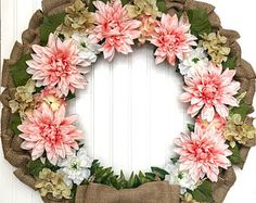 floral and burlap wreath  wreathsbycasey