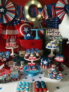 mesa de dulces capitan america con accesorios