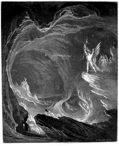 Satan arousing the fallen angels. By John Martin. Original mezzotint with drypoint, 1824.