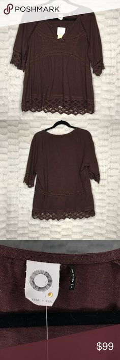 Anthropologie NWT ✨Akemi + Kin Maroon Coachella NWT Anthropologie | Akemi + Kin Maroon Short Sleeve Shirt Blouse Tunic Crochet Detail  Coachella, Festival, Boho, Concert 🌸☀️🌺  Bundle your likes to save💰💰💰 EVERYTHING IN MY CLOSET RIGHT NOW IS BUY 2 GET 1 FREE!!! Bundle 3 items, receive 1 free!  C21 Anthropologie Tops