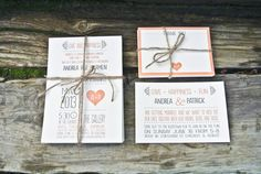 Wedding Invitation Peach and Gray Whimsical by WideEyesDesign, $2.00