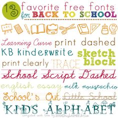 school days | learning curve | print dashed | KB kinderwrite | sketch block | print clearly | trace | school script dashed | english essay | milk moustachio | pw school's out | little school | kid's alphabet I've never really had a reason to use school-themed fonts before but now that Scarlette has …