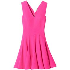 Rebecca Taylor Sleeveless Crepe V-Neck Dress ($219) ❤ liked on Polyvore featuring dresses, orchid pink, no sleeve dress, pink v neck dress, sleeveless dress, v neckline dress and flounce hem dress