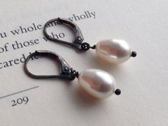 Something Old-Swarovski Pearl Drops On Oxidized Sterling Silver Lever Back Earrings FREE SHIPPING on Etsy, $20.00