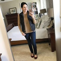 Fashion Over 40 | What I Wore | Camel Sweater with Black Quilted Vest, Jeans and Burgundy Suede Flats