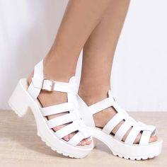 241da2f63f5 Ladies White Strappy Chunky Block High Heel Peep Toe Sandals Platform Shoes