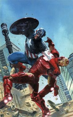 Secret Wars 3 Cover ~ Gabriele Dell'Otto painted comic art cover with Captain America and Iron Man