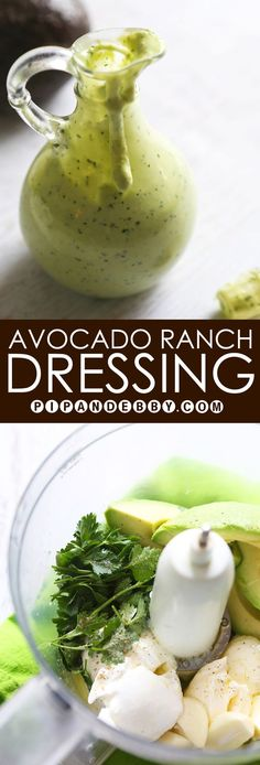 Avocado Ranch Dressing Super creamy delicious dressing made easily in your own kitchen Great as a dip for veggies a sandwich spread or salad dressing Avocado Ranch Dressing, Salad Dressing Recipes, Salad Recipes, Salad Dressings, Dressing For Salad, Molho Ranch, Avocado Recipes, Healthy Recipes, Yummy Veggie