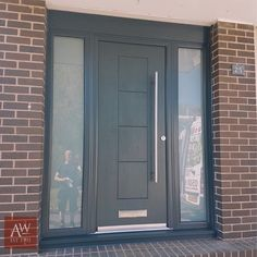 Grey Front Doors – Home decoration ideas and garde ideas House Front Door, Modern Exterior Doors, House Entrance, House Front, House Exterior, Entry Doors, Grey Front Doors, Porch Extension, Front Porch Design