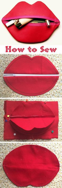 DIY Zipped Lip Cosmetic Bag. This little zippered bags and organizers in the shape of lip make great, practical gifts for every teenage girl in your life.