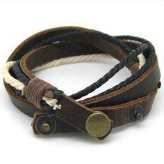 Adjustable leather bracelet buckle bracelet men bracelet ropes bracelet made of leather and ropes wrist bracelet SH-2539. $5.00, via Etsy.