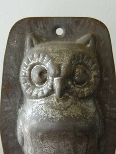 another one SOLD ... still looking .... Antique Tin Owl Mold Great Patina by SusabellaBrownstein on Etsy