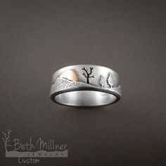 Custom Sunset Mountain Forest Wedding Ring by Beth Millner Jewelry