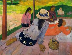 Paul Gauguin (French, 1848–1903). The Siesta, ca. 1892–94. The Metropolitan Museum of Art, New York. The Walter H. and Leonore Annenberg Collection, Gift of Walter H. and Leonore Annenberg, 1993, Bequest of Walter H. Annenberg, 2002 (1993.400.3) | Close examination of the canvas reveals that Gauguin labored over the arrangement of the women, correcting their profiles, eliminating another figure at the far left, and painting the basket of fruit where there once was a dog.