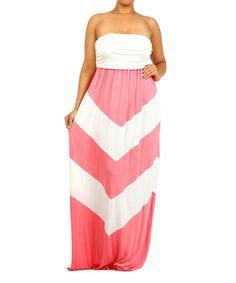 Look at this #zulilyfind! Coral & White Chevron Strapless Maxi Dress - Plus #zulilyfinds