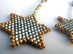 Silver Lined Grey and Bronze Star Delica stitched by fantasybeader, $13.50