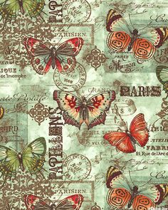 French Quarter - Butterfly Ephemera - Sage Green