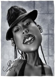 Alicia Keys by Risa Sin Funny Caricatures, Celebrity Caricatures, Celebrity Drawings, Cartoon Faces, Funny Faces, Cartoon Art, Caricature Drawing, Drawing Art, Famous Cartoons