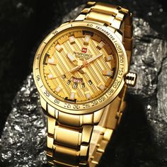 Cheap watch fashion, Buy Quality watch new world order directly from China watch nurse Suppliers: 2017 NAVIFORCE Gold Watch Men Watches Top Brand Luxury Famous Wristwatch Male Clock Golden Quartz Wrist Watch Relogio Masculino Cool Watches, Watches For Men, Stylish Watches, Casual Watches, Sport Watches, Golden Watch, Seiko Watches, Stainless Steel Watch, Luxury Watches