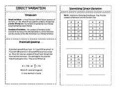 Direct & Inverse Variation - Equations Card Sort Activity/Graphic ...