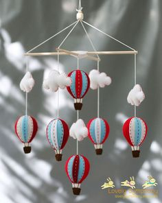Red and blue hot air balloons baby mobile Red by LovelySymphony, $70.00