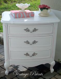 Shabby Chic White Night Stand  #Distressed #Vintage Paints