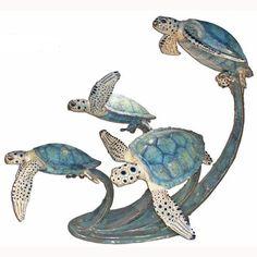 Bronze Four Turtle Swimming