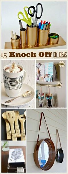 There are some cute ideas here. ...I'm always inspired by affordable DIY projects and recycled ideas. Today I'm sharing 15 DIY Projects that hopefully inspire you to look at items that you already have with new eyes. These are quick and easy ways to recycle and create some amazing Knock Off DIY Projects. I think you are...