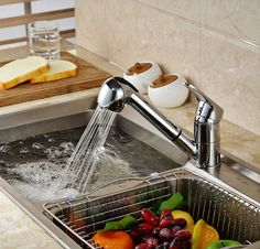 Luxury Pull Out Kitchen Faucet Deck Mount Kitchen Water Taps with Hot and Cold Water Single Handle