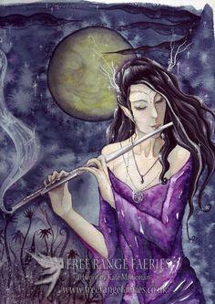 Enchanted Night mini Print/Faerie Print/Fairy Art/Gothic/Magical/Fantasy/Faerie art/Moonlit/Healing/Spiritual/Flute/Music/Art Print by Freerangefaeries on Etsy