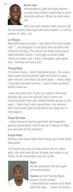 Self-Hatred: Too idiotic!  So funny because these gentlemen come from a lineage of African women who may have had a good amount of melanin in their skin.  I always wonder if they'd say these comments to their mothers?!   T. Duncan