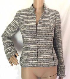 AKRIS Black & White Woven 100% Silk Jacket/Blazer - Size 6 - EUC #Akris #BasicJacket