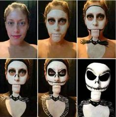 Jack Skellington Nightmare Before Christmas step by step body and face paint