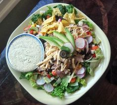 Chicken Recipe : Southwestern style chopped salad with homemade tomatillo ranch