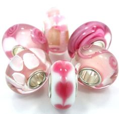 .925 Sterling Silver 6 Beads Shades Pink Murano Glass Beads Fits Pandora Kay's…