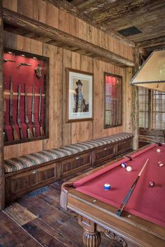 Montana ranch retreat boasts gorgeous display of rustic-luxe details Saloon Western, Rustic Games, Pool Table Room, Pool Tables, Rustic Luxe, Rustic Style, Modern Rustic, Rustic Decor, Gun Rooms