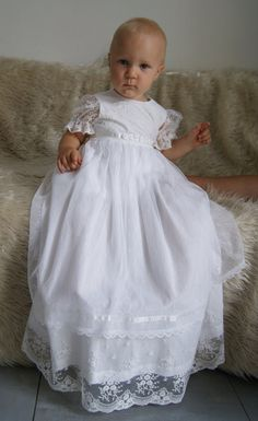 PAULINE Christening Gown , Ivory Lace Baptism Gown, Baptism dress, Christening set