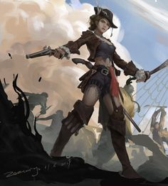 Marta·Betanfield in pirate time.from a random quest , fanart of Dungeons And Dragons Characters, Dnd Characters, Fantasy Characters, Female Characters, Pirate Art, Pirate Woman, Pirate Life, Fantasy Witch, Fantasy Warrior