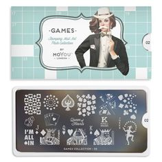 Games Plate Collection - Your favourite nail art image plates. Board games, cards, black jack and all your favourite games on designs engraved on stainless steel Nail art stencils. MoYou-London an award winning nail art brand. Stamping Nail Art, Stamping Plates, Nail Art Stencils, Nail Art Designs Images, Stainless Steel Nails, Image Plate, Nail Plate, Stencil Designs, Perfect Nails