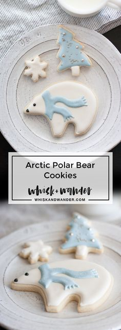 Disco dust adds frost to these arctic polar bear sugar cookies. Mini trees and snowflakes make this the perfect winter cookie set! via /whiskwander/