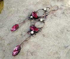 copper bright pink crystal earrings in by EdisLittleTreasures