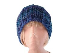 Unisex Crocheted Hat in Purple, Blue, Green and Teal from Uniquely Yours