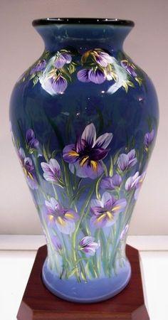Fenton Vase Emerald Cased w Indigo Opalescent Orchid Garden OOAK | eBay