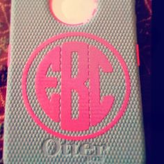 Monogrammed Otter Box iPhone Case. Cool bit the otter box cover is kinda an eyesore right there next to the pretty monogram
