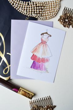 Fashion Card Fashion Illustration Art by DorinusIllustrations  #vintage #dresses #statinery