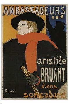 Henri de Toulouse-Lautrec, Ambassadeurs Aristide Bruant in his cabaret, 1892 Henri De Toulouse Lautrec, Belle Epoque, Cabaret, Art Parisien, Art Sur Toile, Art Beat, Kunst Poster, Guache, French Art