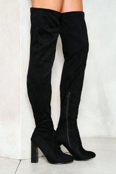 da80cc30595 Nasty Gal nastygal Bad News Over-the-Knee Boot Thigh High Boots Heels