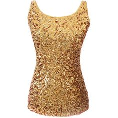 Tank Top Gold Slimming Ladies Crew Neck Sleeveless Sequined
