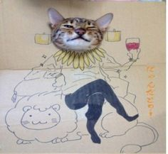 """ARTIST & MODEL FOUND -- Chinese woman toshiya86, you WIN THE INTERNETS! The Daily Mail says """"As Guagua the cat could not have a real fancy dress party for its birthday, his owner drew outfits on a cardboard instead. Characters from Japanese anime series allow Guagua to be everything from a witch to a martial arts fighter, and a superhero armed with a glowing fish."""" First posting seems to be by toshiya86, a female user of Chinese microblogging site Weibo, the artist and cat owner."""