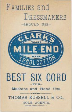 thread Advertising Trade card ephemera